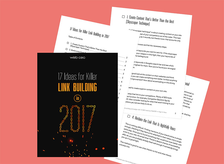 La copertina e il contenuto dell'ebook 17 ideas for killer Link Building